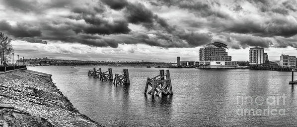 Cardiff Bay Art Print featuring the photograph Cardiff Bay Panorama Mono by Steve Purnell