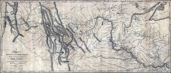 History Art Print featuring the photograph A Map Of Lewis And Clarks Track by Everett