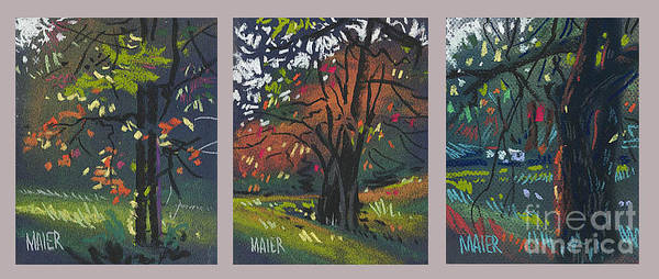 Autumn Foliage Art Print featuring the painting Across The Creek Triplet by Donald Maier