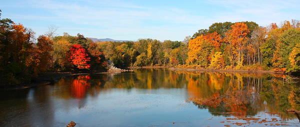 Landscape Art Print featuring the photograph Autumn Catskill Creek Panoramic by Larry Federman