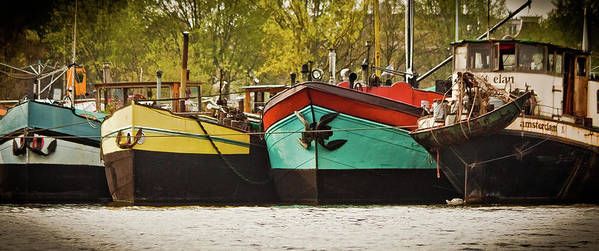 Amsterdam Art Print featuring the photograph Canal Boats by Jill Smith