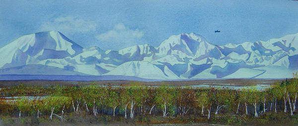 Denali Art Print featuring the painting Denali Park Alaska by Teresa Boston