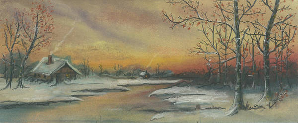 Winter Scene Art Print featuring the pastel Early Winter by Shelby Kube