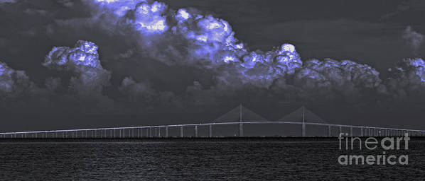 Sunshine Skyway Bridge Art Print featuring the photograph Fire In The Clouds by William Hanus