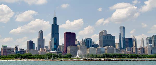 Illinois Art Print featuring the photograph Grant Park And Chicago Skyline by Alan Toepfer