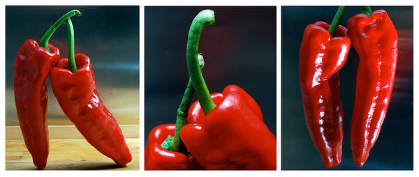 Triptych Art Print featuring the photograph Red Pepper Triptych by Terence Davis
