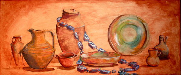 Pots Art Print featuring the painting Salvaged From The Sea by Yvonne Ayoub