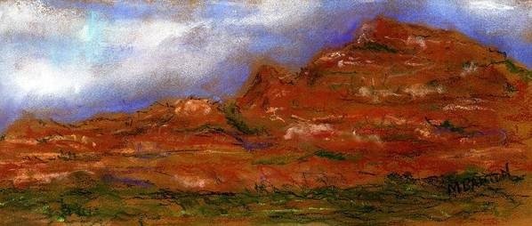 Landscape Art Print featuring the painting Sedona Storm Clouds by Marilyn Barton