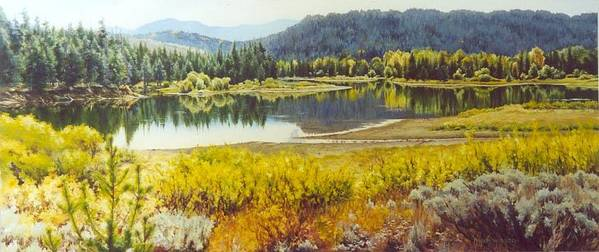 River Art Print featuring the painting The Snake In Autumn by Marion Hylton