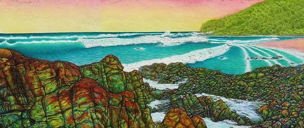 Seascape Art Print featuring the painting Third Bay Coolum Beach Triptych by Joe Michelli