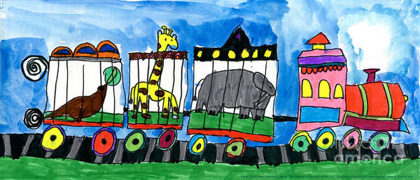 Circus Art Print featuring the painting Circus Train by Max Kaderabek Age Eight