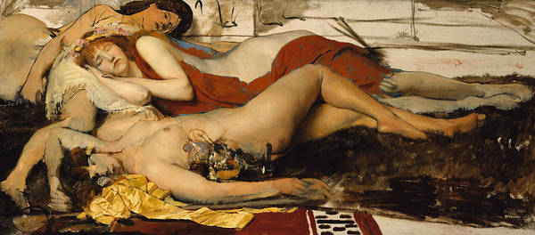 Nude Print featuring the painting Exhausted Maenides by Sir Lawrence Alma Tadema