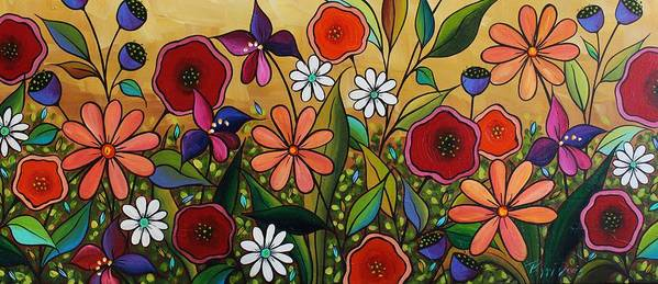 Flowers Art Print featuring the painting Garden Variety by Peggy Davis