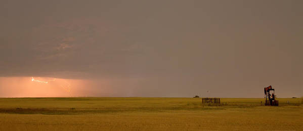 Lightning Art Print featuring the photograph Lightning On The Horizon Of Oil Fields by James BO Insogna