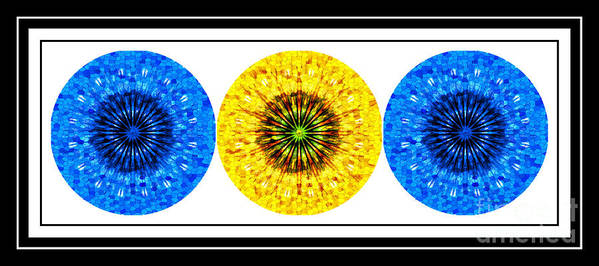 Mosaic Blue Circles With Yellow Art Print featuring the photograph Mosaic Blue Circles With Yellow by Barbara Griffin