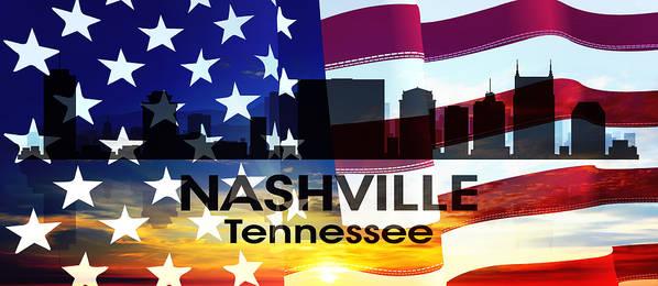 Tn Art Print featuring the mixed media Nashville Tn Patriotic Large Cityscape by Angelina Vick