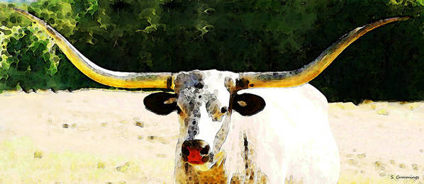 Cow Art Print featuring the painting Texas Longhorn - Bull Cow by Sharon Cummings