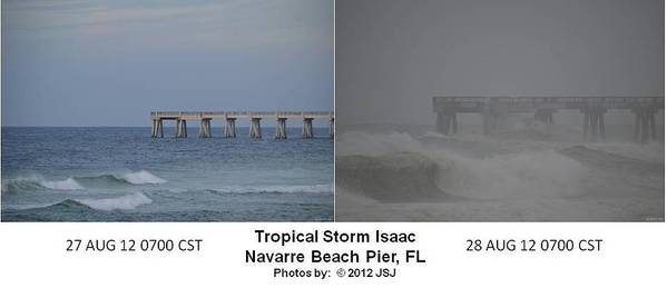 Difference Art Print featuring the photograph Tropical Storm Isaac Difference In A Day by Jeff at JSJ Photography