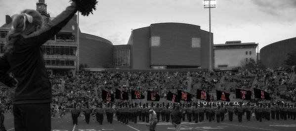 Uc Art Print featuring the photograph University Of Cincinnati Marching Band by Tom Climes