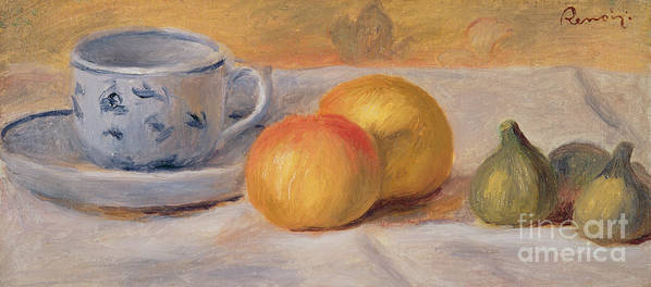 Fruit; Crockery; Patterned; China; Saucer; Tablecloth; Rustic; Figs; Oranges Print featuring the painting Still Life With Blue Cup Nature Morte A La Tasse Bleue by Pierre Auguste Renoir