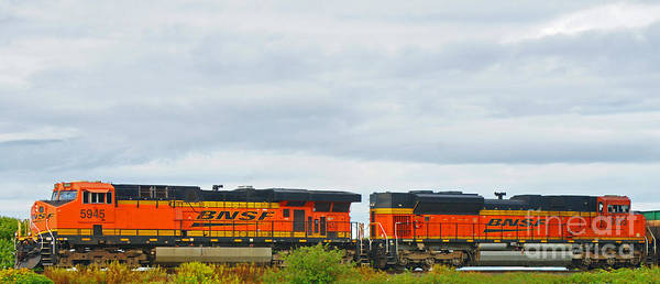 Trains Art Print featuring the photograph Double Bnsf Engines by Randy Harris