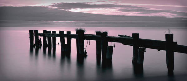 Pier Art Print featuring the photograph Pier At Sunrise by Sarah Hauck