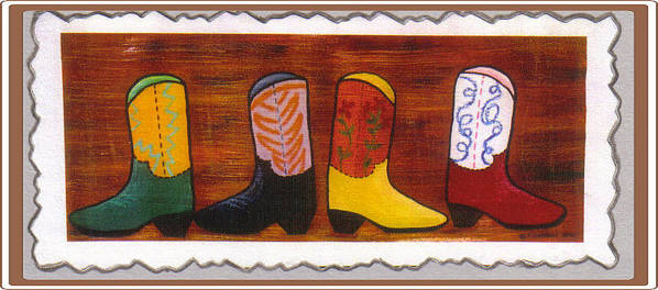 Cowboy Boots Art Print featuring the mixed media Boot Skootin by Gayle Hartman
