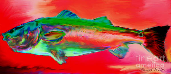 Red Drum. Spot Tail Art Print featuring the painting Red Drum by Everett White