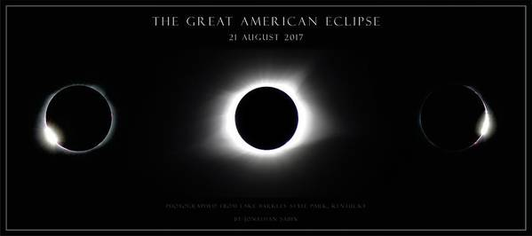 Great American Eclipse Art Print featuring the photograph Great American Eclipse - Triptych by Jonathan Sabin