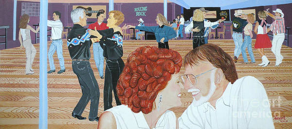 Dance Print featuring the painting Guitars And Cadillacs Omaha by Christine Belt