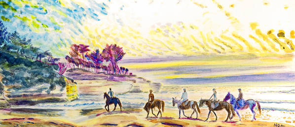 Seascape Art Print featuring the painting Horsemen by Aymeric NOA