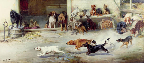 Race; Dog; Breeds; Jack Russell; Poodle; Dachshund; Bloodhound; Boxer; Cairn; Springer Spaniel; Pug Art Print featuring the painting Hot Pursuit by William Henry Hamilton Trood