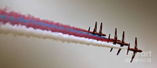 Red Arrows Art Print featuring the photograph In One Row by Angel Ciesniarska