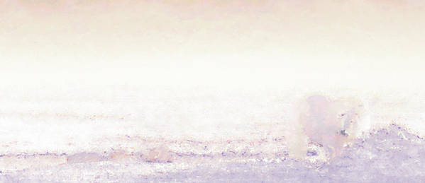 Winter Art Print featuring the digital art Polar Bear And Cubs by Margaret Wingstedt