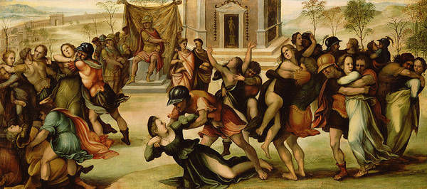 Rape Of The Sabines Art Print featuring the painting Rape Of The Sabines by Girolamo del Pacchia