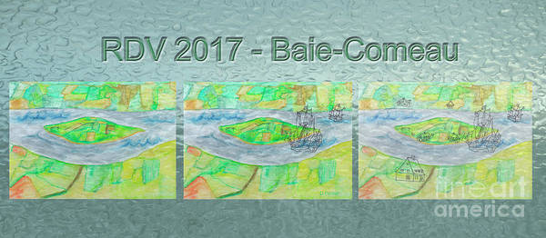 Island Art Print featuring the mixed media Rdv 2017 Baie-comeau Mug Shot by Dominique Fortier