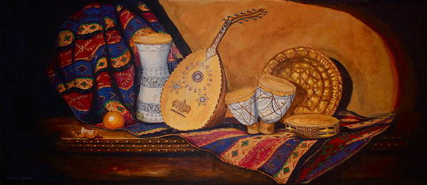 Still Life Art Print featuring the painting Still Life With Arabian Oud by Yvonne Ayoub