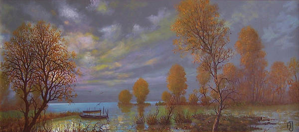 T�jk�p Art Print featuring the painting Water World Of Light by Jozsef Horvath