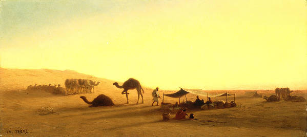 Arab; Encampment; Desert; Camp; Tent; Canopy; Camel; Camels; Dawn; Dusk; Morning; Evening; Sunrise; Sunset; Sundown; Golden; Glow; Nomad; Nomads; Nomadic; Traveller; Travellers; Travel; Camel; Train; Arab; Arabs; Arabian; Arid; Heat; Orientalist; Middle East; Middle Eastern; Sand; Dune; Dunes Print featuring the painting An Arab Encampment by Charles Theodore Frere