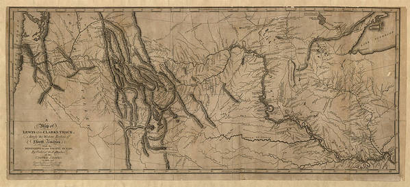 Lewis And Clark Art Print featuring the drawing Antique Map Of The Lewis And Clark Expedition By Samuel Lewis - 1814 by Blue Monocle