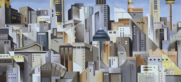 Composition Art Print featuring the painting Composition Looking East by Catherine Abel
