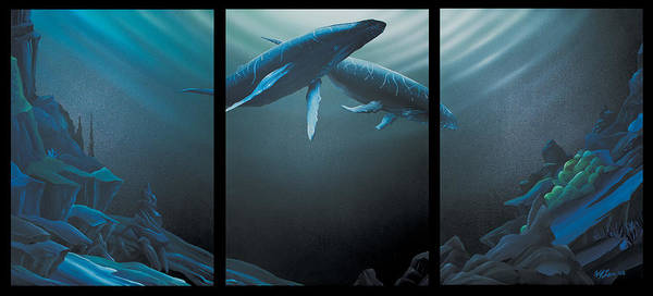 Humpback Art Print featuring the painting Fathom by William Love