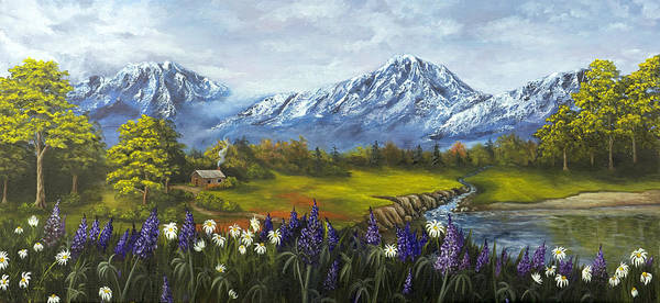 Landscape Art Print featuring the painting Jessy's View by Darice Machel McGuire
