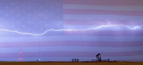 Lightning Art Print featuring the photograph Long Lightning Bolt Across American Oil Well Country Sky by James BO Insogna