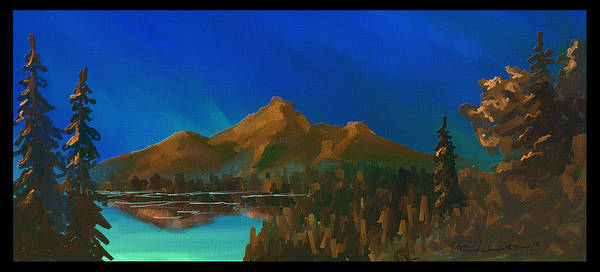 Mountain Art Print featuring the painting My Kind Of Peace by Steven Lebron Langston