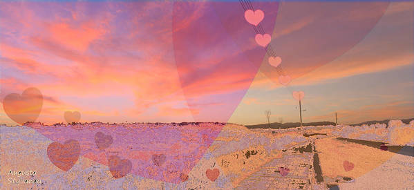 Sunset Art Print featuring the digital art Romantic Sunset by Augusta Stylianou
