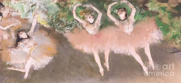 Scene; Ballet; Impressionist; Dance; Dancer; Dancers; Dancing; Ballerina; Ballerinas; Print; Printmaking; Green; Pink; Movement; Grace; Performance; Entertainment; Paris; Parisian; Belle Epoque; Tutu; Tutus; Female; En Pointe; Impressionistic Art Print featuring the pastel Scene De Ballet by Edgar Degas