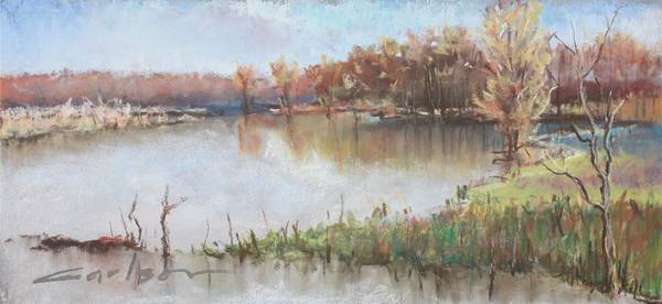 Art Print featuring the pastel The Wabash-out Of Its Banks by Kevin Carlson