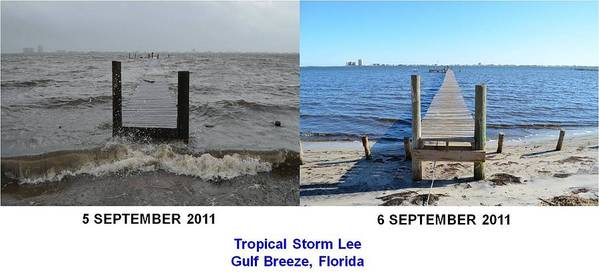 Difference Art Print featuring the photograph Tropical Storm Lee Difference A Day Makes by Jeff at JSJ Photography