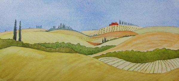 Italy Art Print featuring the painting Tuscan Hillside Two by Mary Ellen Mueller Legault